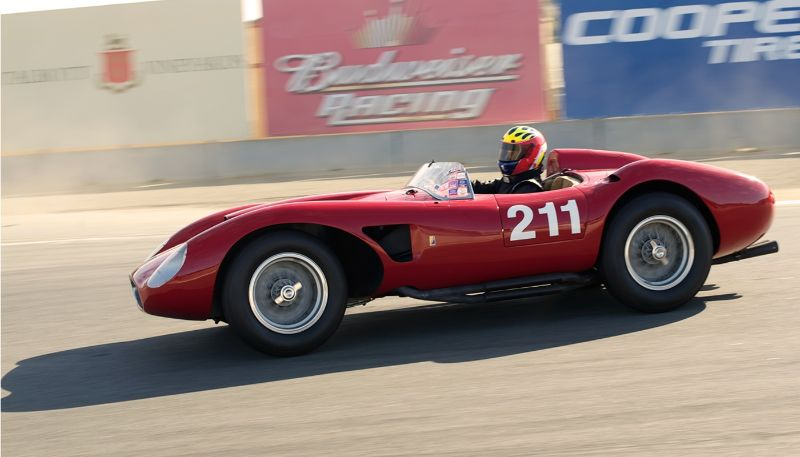 Early sunlight on the Ferrari 625TRC driven by Michael Callaham in turn eleven.
