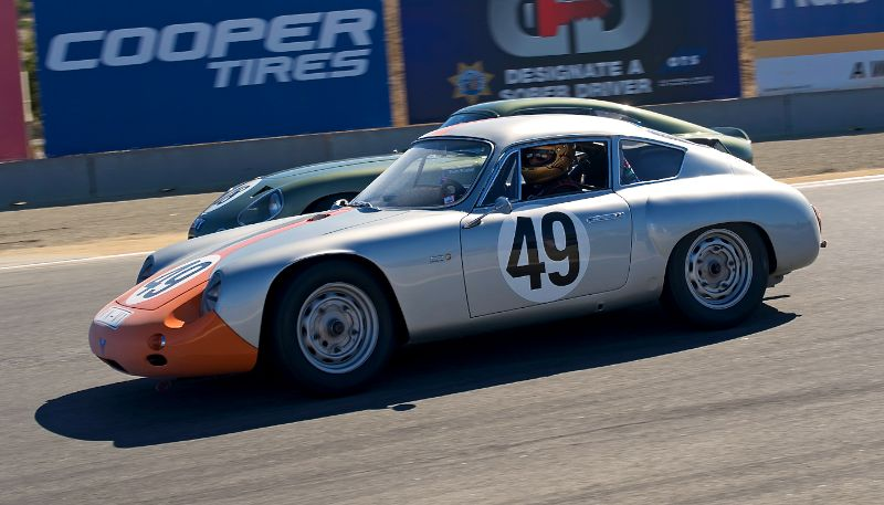 1960 Porsche Abarth, Ranson Webster inside the Aston Martin DP214.