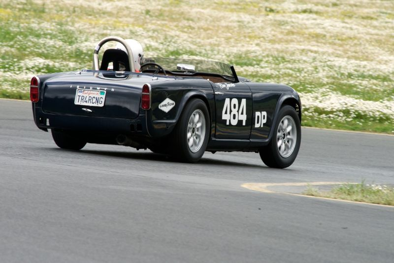 Ron Jacobs 1966 Triumph TR-4A down the hill in four.