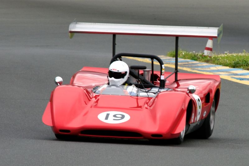 Friday afternoon practice. Group 7, Greg Mitchell in his Lola T163 Can-Am car.