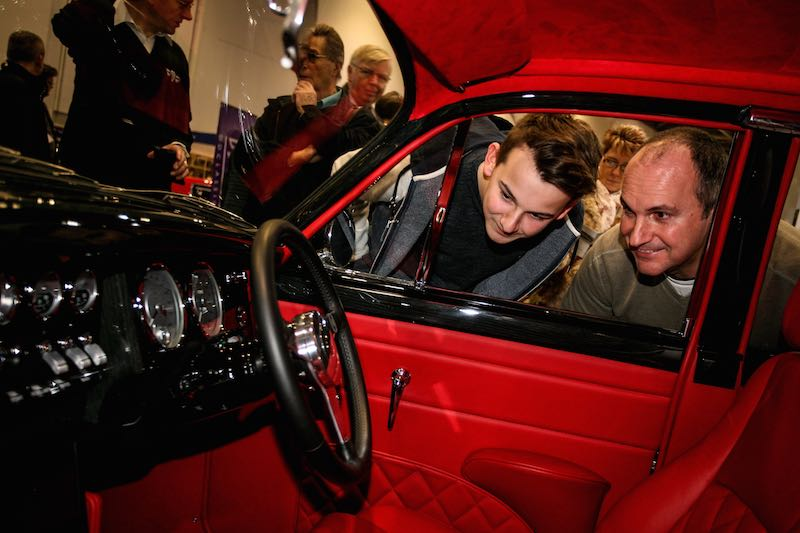 Inspecting the goods at the London Classic Car Show