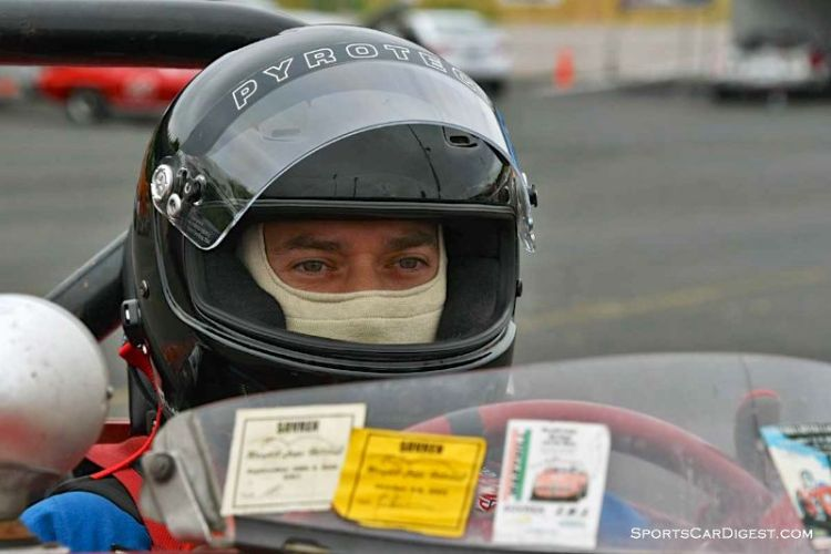 Chip Starr inside the 1960 Austin Healey Bugeye Sprite -  Portland Historic Races 2015
