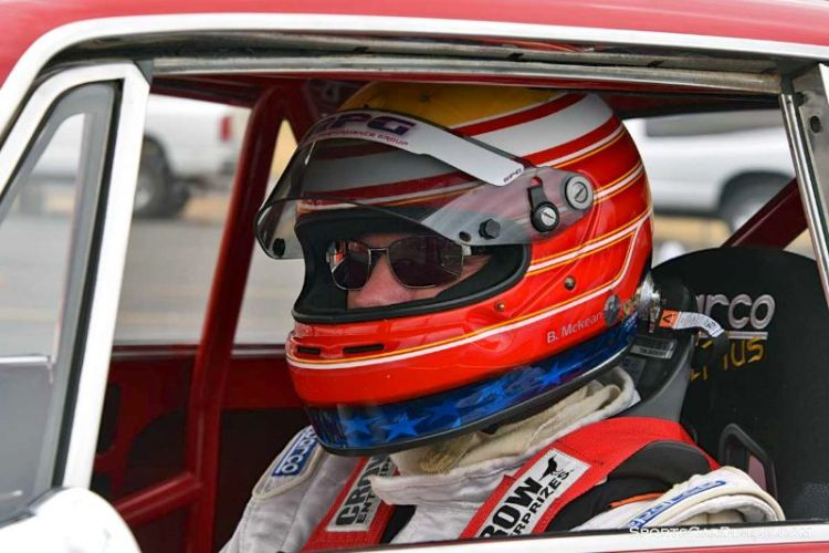 Bruce McKean inside the 1969 Alfa Romeo GTV at Portland Historic Races 2015
