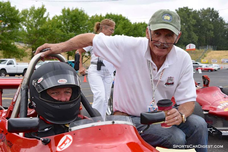 Ron Emmerson inside the 1985 Ralt RT5 with Bob Ames    during Portland Historic Races 2015