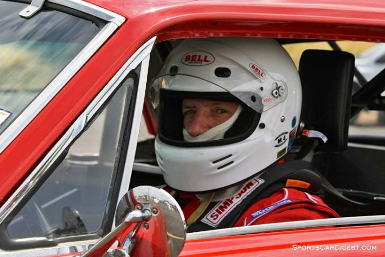 Nick De Vitis behind the wheel of the 1968 Ford Mustang at Portland Historic Races 2015