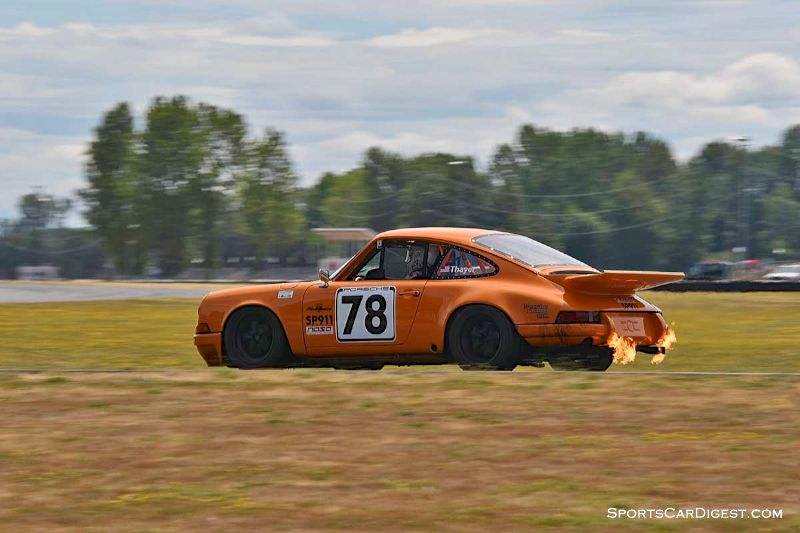 Steve Thayer's 1969 Porsche 911E spitting flames at Portland Historic Races 2015