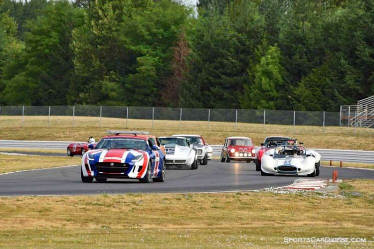 Jaguar pace car leads Closed Wheel Enduro field at Portland Historic Races 2015