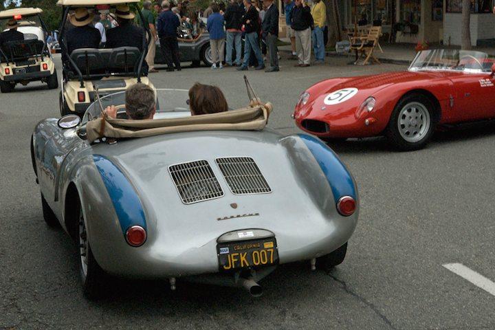 1956 Porsche 550 Spyder passes an O.S.C.A
