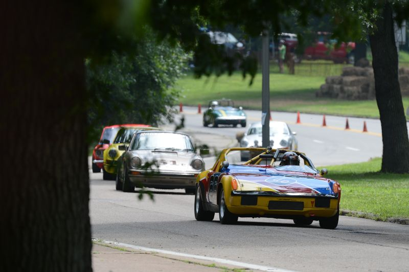 Dotti Bechtol leads group 5 down to the Panther Hollow Bridge, 1972 Porsche 914/6.