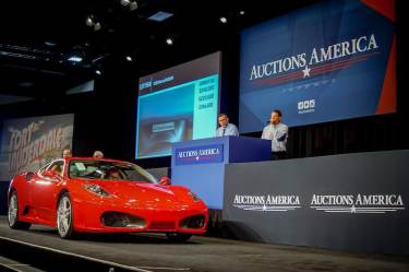 All eyes on the 2007 Ferrari F430 F1 Coupe formerly owned by President Donald Trump before it sells for a final $270,000 (photo: Jonathan Lay)