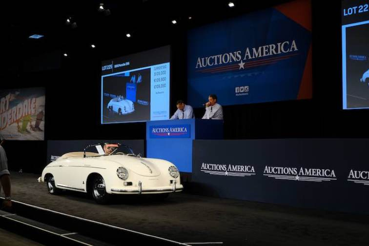 The star of the JLG Autocrib Collection, the 1955 Porsche 356 Speedster sold for a final $255,750 (photo: Ryan Merrill)