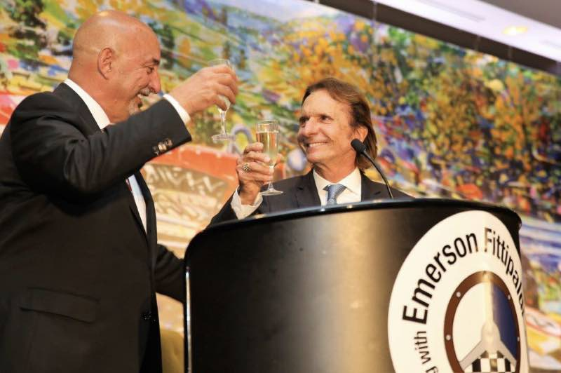 Champagne toast with Rahal and Fittipaldi. Photo credit: Albert Wong