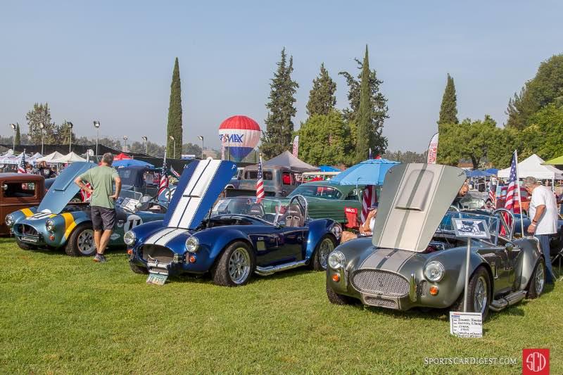 (R-L) 1965 Shelby Cobra (Factory 5), 1965 Shelby Cobra, (Factory 5), 1964 Shelby FIA Cobra