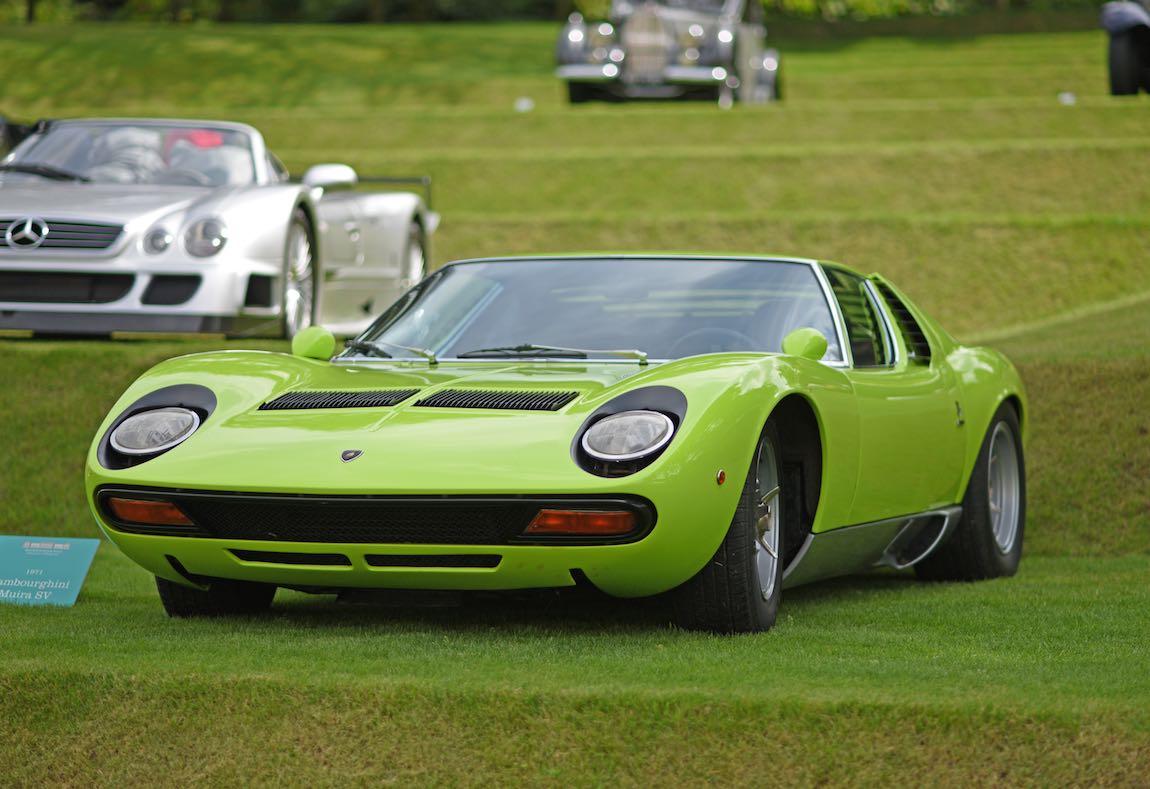 1971 Lamborghini Miura SV at Heveningham Hall Concours d'Elegence 2017. Credit Rufus Owen