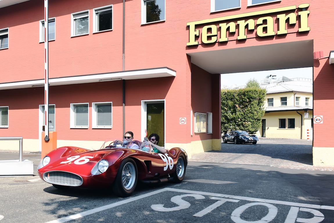Leaving the Ferrari factory on the 70th Anniversary Tour