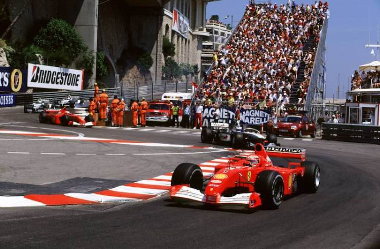 Monaco Grand Prix Monte Carlo, Monaco 24th-27th May 2001 Michael Schumacher, Ferrari, Leads Mika Hakkinen, West McLaren Mercedes, (photo: courtesy of LAT Images)