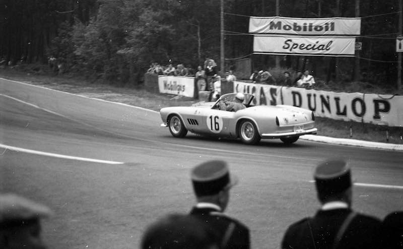 The Ferrari 250 GT LWB California Spider Competizione at speed during the 1959 24 Hours of Le Mans on route to a 5th overall and 3rd in class finish. (Courtesy of Maurice Louche)
