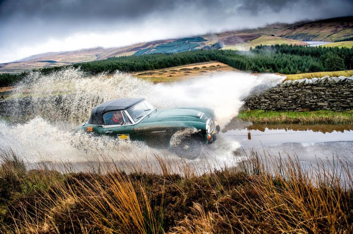 Austin-Healey 3000 Mk III makes a splash on the Three Legs of Mann Rally (photo: Blue Passion)