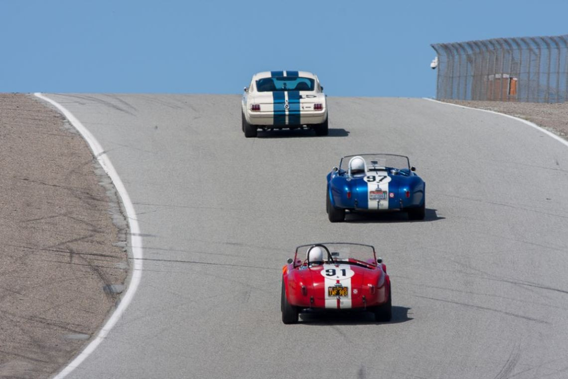 Shelbys up the hill at Laguna Seca during the HMSA Spring Club (photo: Victor Varela)