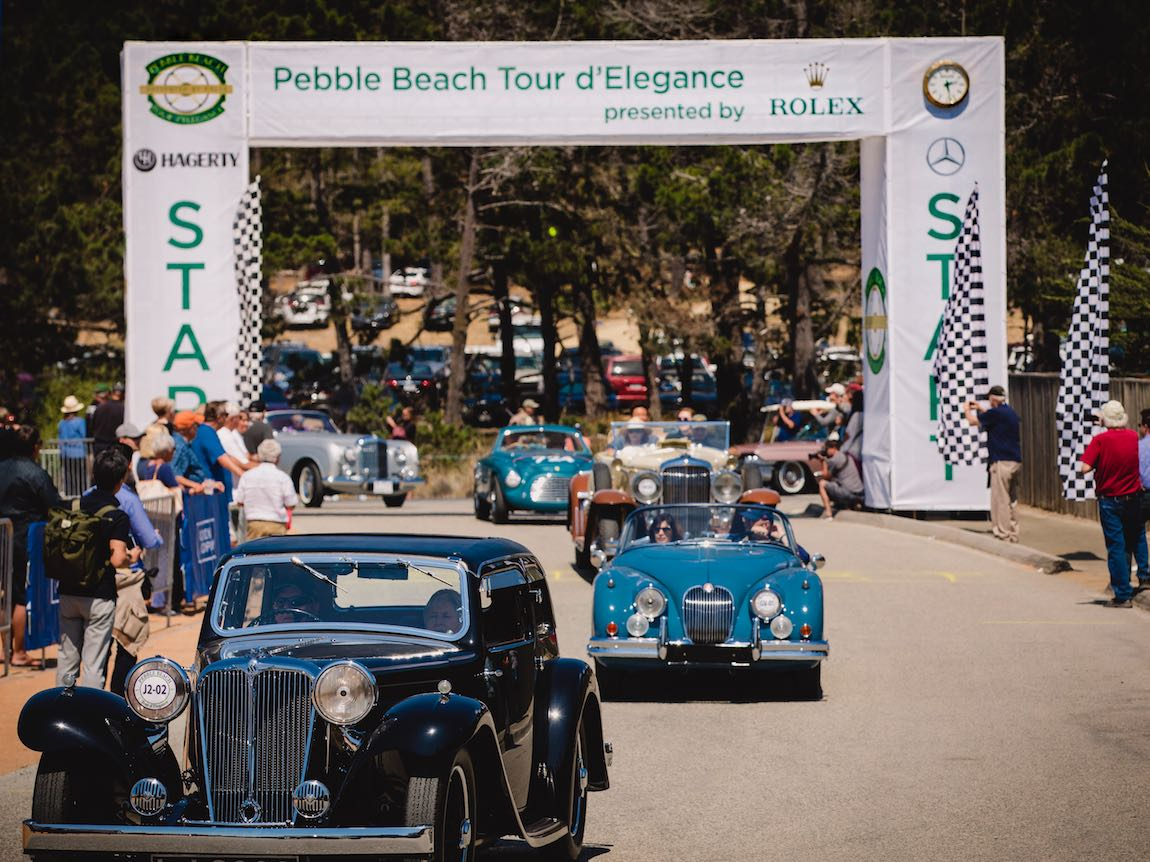 1934 SS Cars SS1 Fixed Head Coupe at the finish of the Pebble Beach Tour d'Elegance 2017