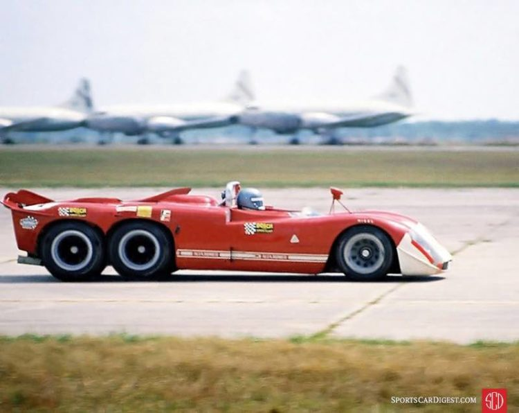 The Alfa Romeo T33 six-wheel project at Sebring in 1970. Composite photo by Lou Galanos.