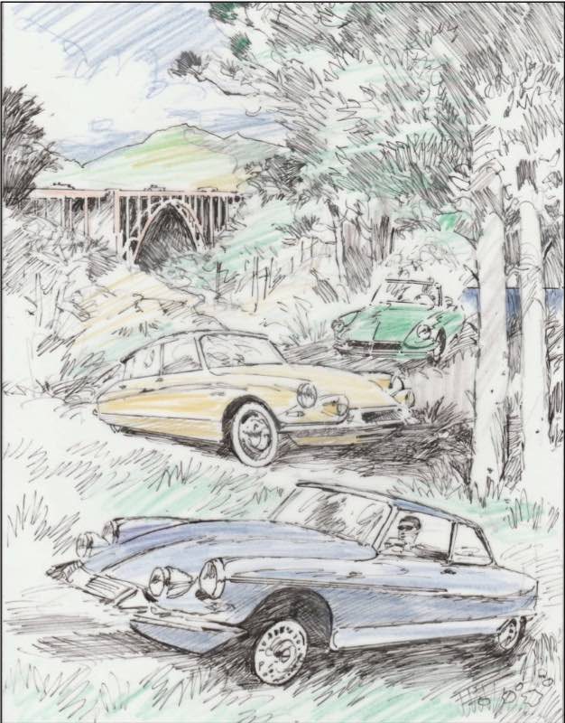 The 2018 Pebble Beach Tour poster marks Barry Rowe's 20th anniversary as an artist for the Concours.