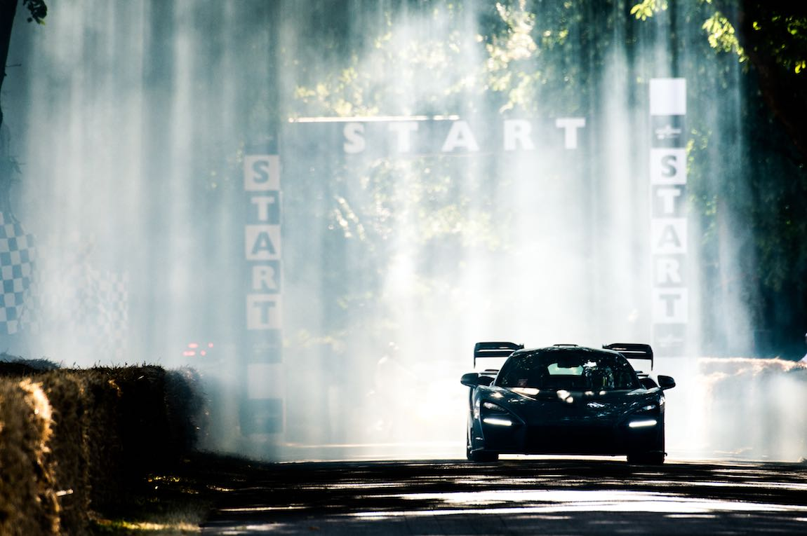 Mclaren Senna begins its run up the Hillclimb at Goodwood Festival of Speed 2018 (photo: Jayson Fong)
