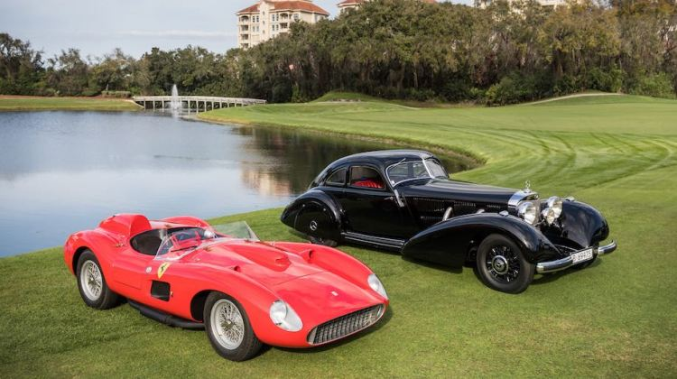 1957 Ferrari 335 S and 1938 Mercedes-Benz 540K Autobahn-Kurier