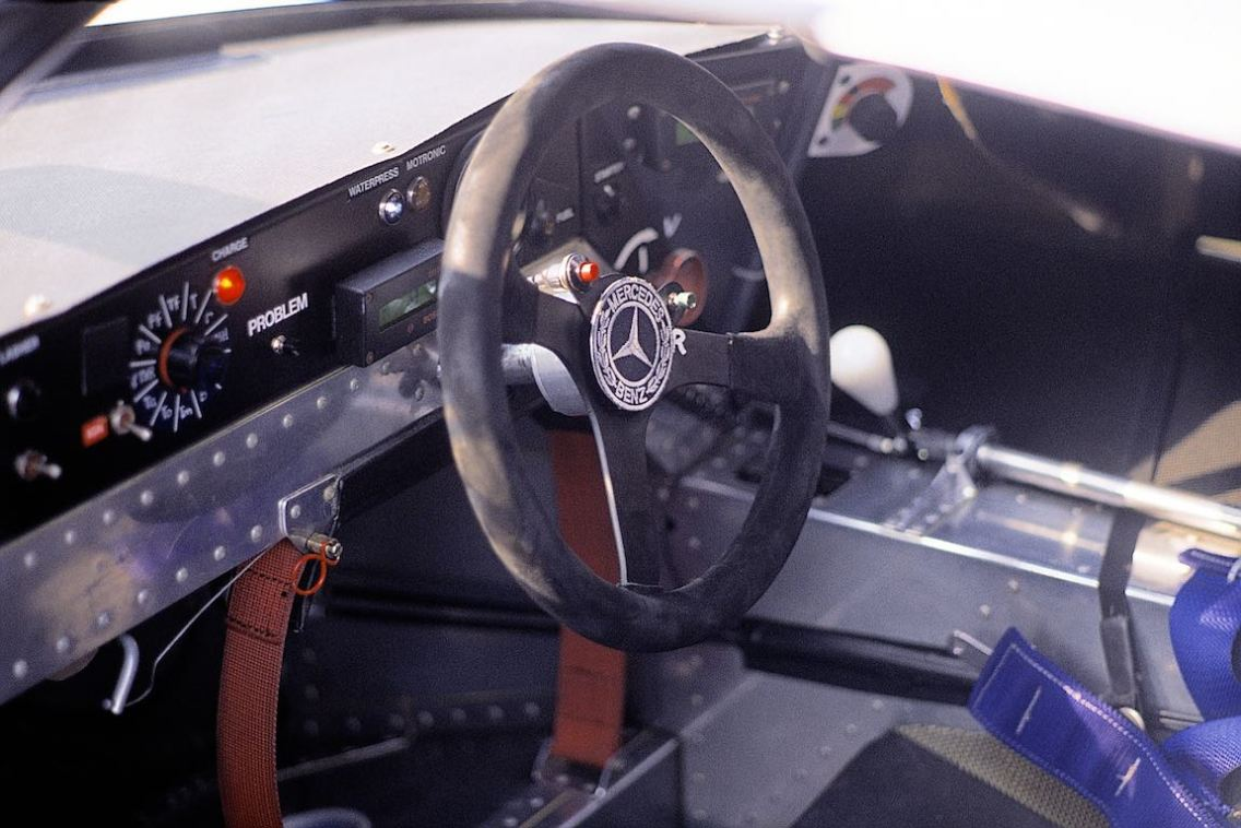 Cockpit of the Sauber-Mercedes C 9 sports car prototype.