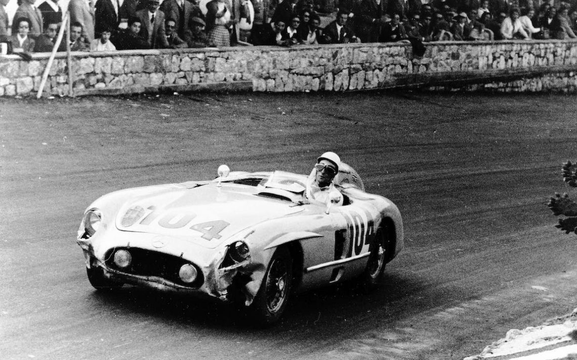 Targa Florio, 16 October 1955. Stirling Moss in Mercedes-Benz model 300 SLR on his way to victory paired with Peter Collins (photo: Daimler AG)