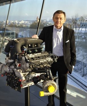 Engineering legend Hans Mezger with the TAG Porsche engine
