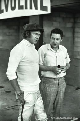 Steve McQueen and a journalist at the 1970 Sebring race. McQueen and co-driver Peter Revson came second in the 12 hour. Photo by Louis Galanos