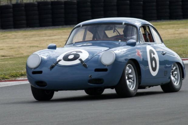 Steve Gilmore's Porsche 356 accelerates down main straight.