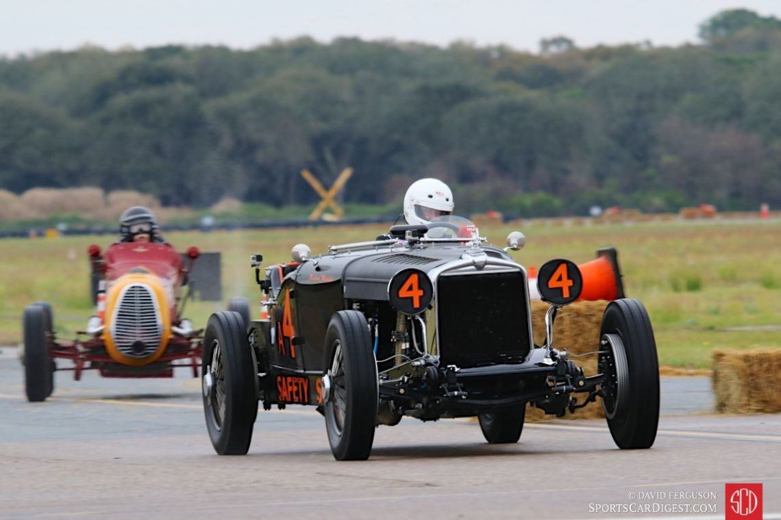 Richard Mitchell behind the wheel of the 1929 Stutz Bearcat