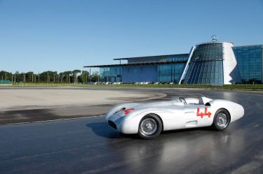 The author tests the Streamliner at Mercedes-Benz World in Surrey, England.