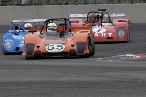 Lola T212 of Phillipe Reyns leads Greg Baldwin's Lola T292 and John Goodman's Ferrari/Sparling 312.