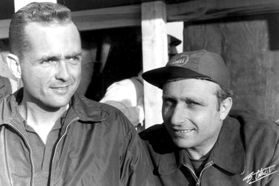 Phil Hill and Juan Manuel Fangio at Sebring 1956