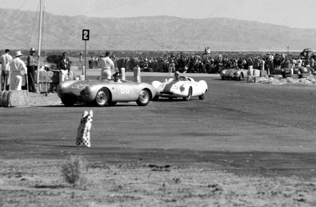 Pete Lovely drove John Edgar's 550 Porsche Spyder at Palm Springs on November 3rd and 4th 1956 in the semi-mail for modified cars under 1500cc. In this photo, Pete is leading Bob Drake and the two traded places for the entire race. Drake won by four seconds! In the main event, Lovely was seventh overall and first in Class F. (photo credit: Art Evans)