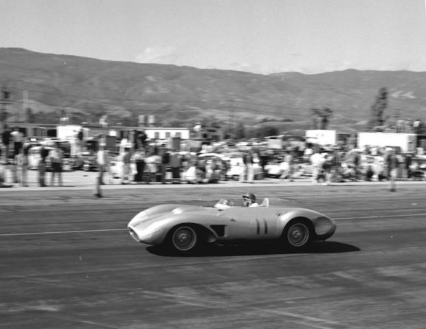 John Von Neumann driving his 1957 Ferrari 625 TRC at Santa Barbara on May 19, 1957.