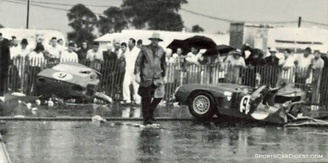 The #9 Bizzarrini Iso Grifo of Charlie Rainville and Mike Gammino was split in two when it hydroplaned on standing water and hit the Mercedes-Benz bridge. Driver Mike Gammino walked away from the accident. (photo: mycarquest.com)