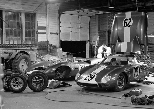 The Mecom garage at the Sebring Raceway on Friday night.
