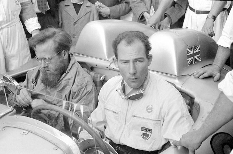 Mille Miglia (Brescia/Italy), 1 May 1955. The subsequent race winners Stirling Moss and Denis Jenkinson pictured before the race in their Mercedes-Benz 300 SLR.