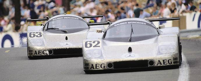 24 Hours of Le Mans, 10-11 June 1989. Sauber-Mercedes C 9, Group C racing car,. Starting number 63 – winners: Jochen Mass / Manuel Reuter / Stanley Dickens. Starting number 62 – driver team Jean-Louis Schlesser / Jean-Pierre Jabouille / Alain Cudini finish fifth.