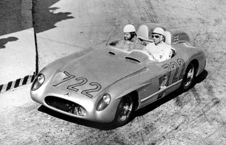 Mille Miglia, Brescia in Italy, 1 May 1955. Stirling Moss and Denis Jenkinson won the race in record time driving a Mercedes-Benz Type 300 SLR (W 196 S) racing car.