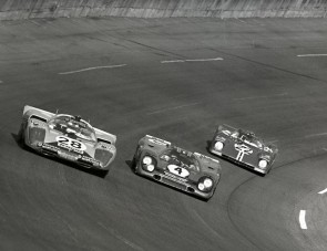 Three Daytona 24-Hour contenders take to the high banks of the Daytona International Speedway in 1971