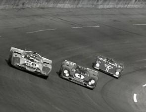 Three Daytona 24-Hour contenders take to the high banks of the Daytona International Speedway in 1971