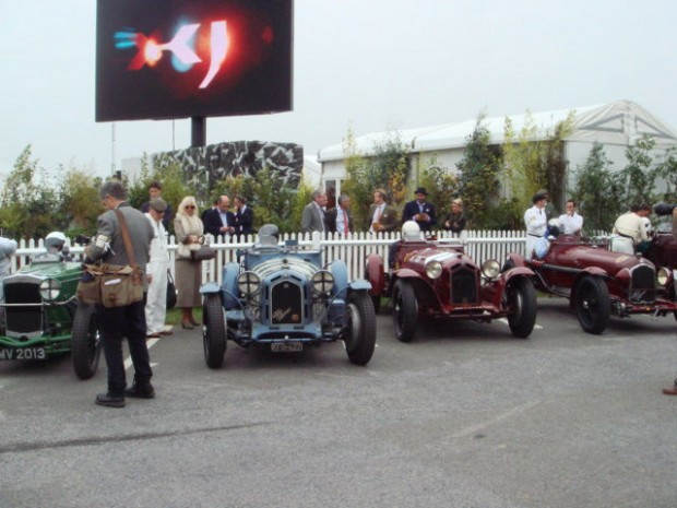There was an abundance of famous pre-war Alfas, including these three Monzas in the Brooklands Trophy race.