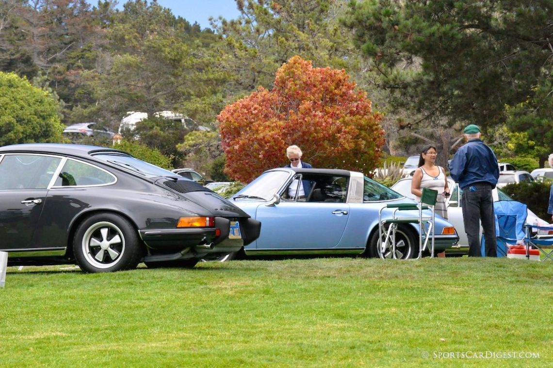 A 1973 Porsche 911S Coupe and 1971 Porsche 911E Targa at the 2014 Porsche Werks Reunion