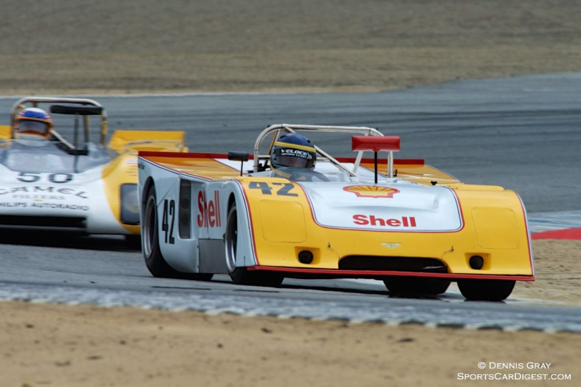 Francois Castaing's Chevron B23 in turn two Sunday.