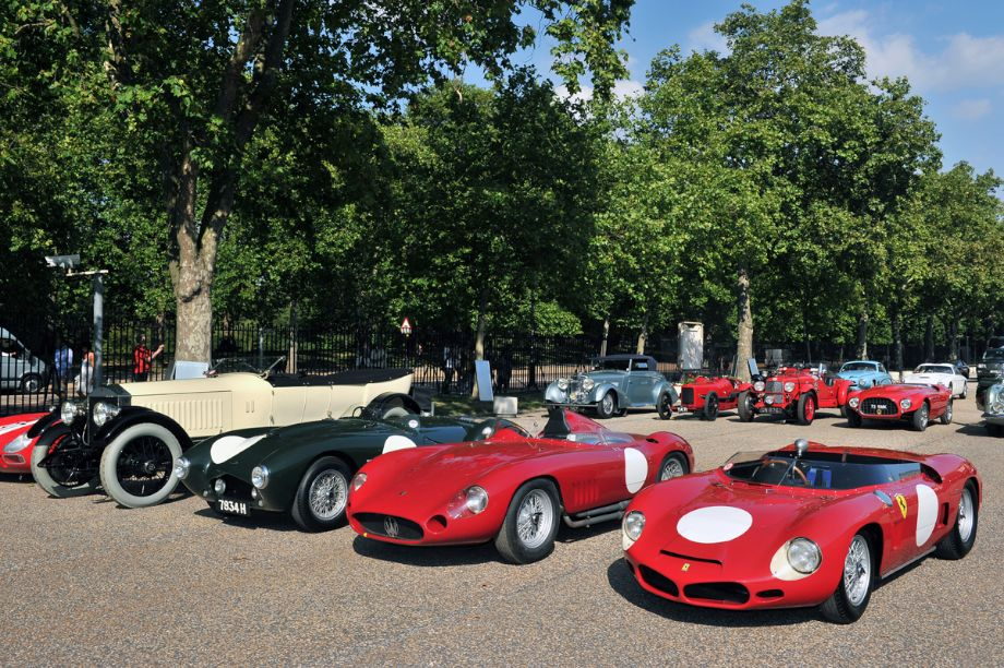 1962 Ferrari 268 SP, 1955 Maserati 300S and 1954 Frazer Nash Sebring